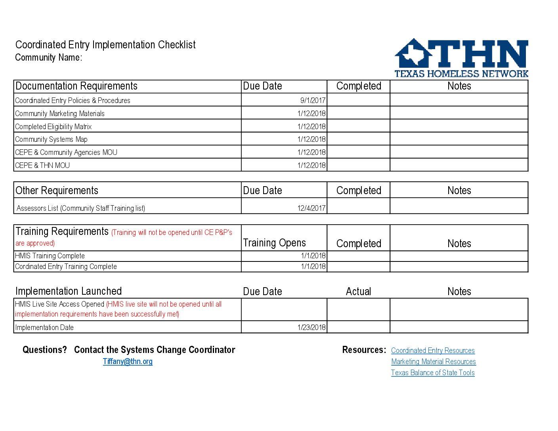 Community Implementation Checklist | Texas Homeless Network