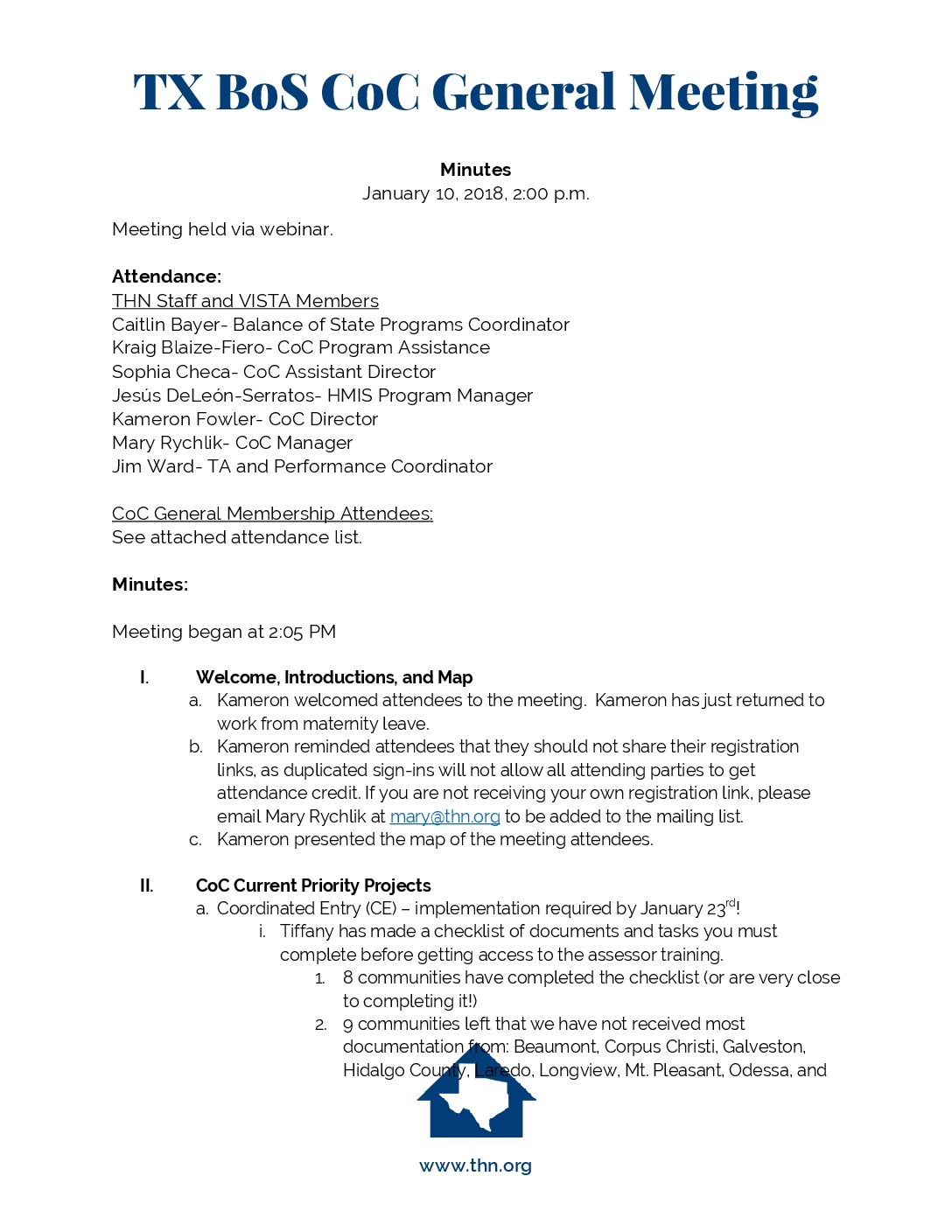 1-10-18 General Meeting Minutes and Materials   Texas