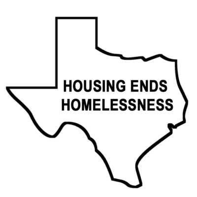 Logo of Texas that says housing ends homelessness